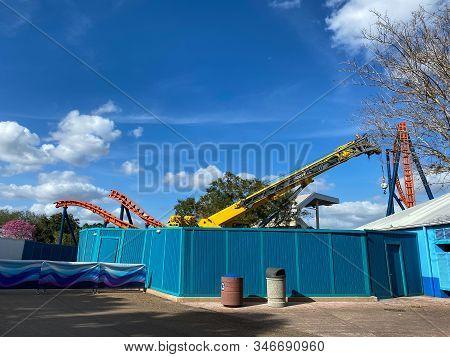 Orlando,fl/usa-1/17/20: The New Ice Breaker Rollercoaster Under Construction At Seaworld Orlando In