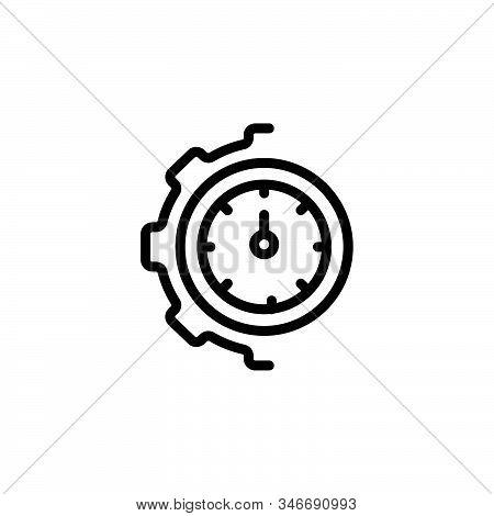 Black Line Icon For Optimization Ios Management Cogwheel Clock Mechanism Technology Transmission