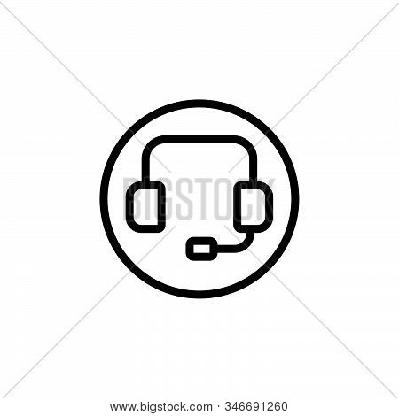 Black Line Icon For Support Customer Call Consultant Headphone Helpline Telemarketing