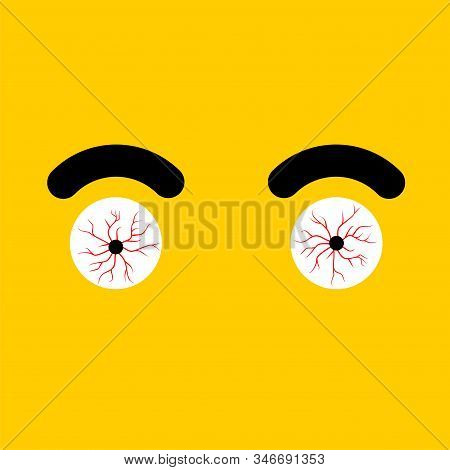 Red Eye Isolated. Bulging Eyes. Bursting Vessels In Eyes From Tension. Vector Illustration