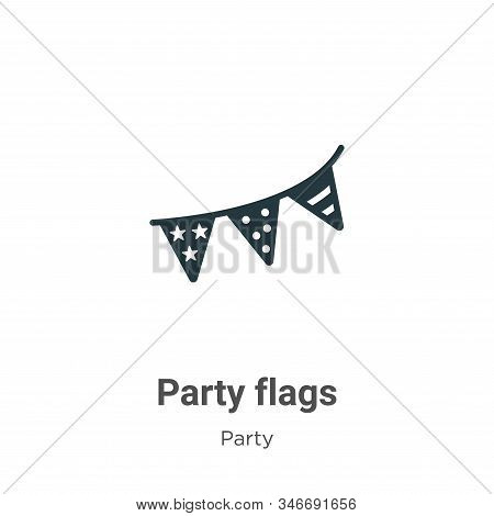 Party flags icon isolated on white background from party collection. Party flags icon trendy and mod