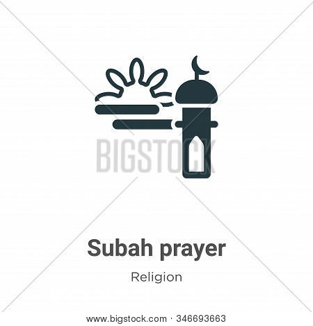 Subah Prayer Glyph Icon Vector On White Background. Flat Vector Subah Prayer Icon Symbol Sign From M