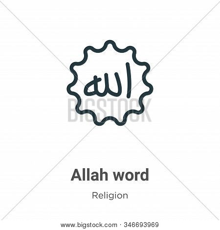 Allah word icon isolated on white background from religion collection. Allah word icon trendy and mo