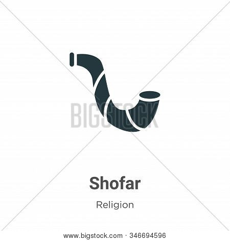 Shofar Glyph Icon Vector On White Background. Flat Vector Shofar Icon Symbol Sign From Modern Religi