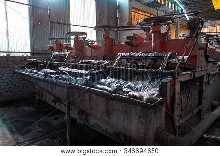 POTOSI / BOLIVIA - APRIL 02, 2018: Silver mining machine in the city of Potosi in Bolivia