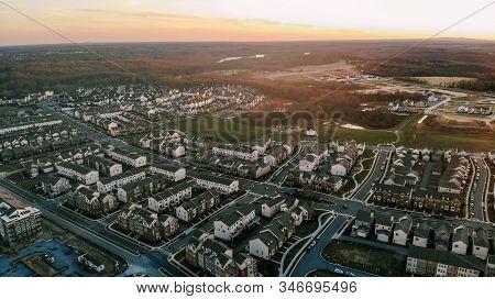 Clarksburg, Maryland / Usa - November 16, 2019: An Aerial Sunset View Of A Residential Neighborhood