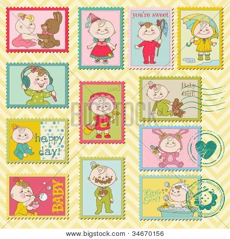 Baby Girl Postage Stamps - for scrapbook, invitation, congratulation - in vector