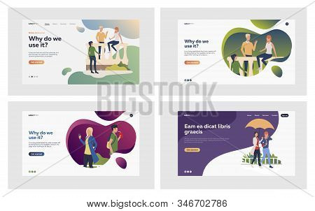 Online And Offline Communication Set. People Meeting Outside, Talking, Using Gadgets. Flat Vector Il
