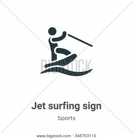Jet surfing sign icon isolated on white background from sports collection. Jet surfing sign icon tre