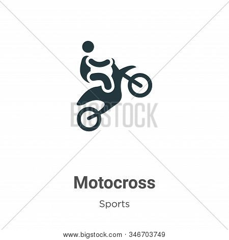 Motocross Glyph Icon Vector On White Background. Flat Vector Motocross Icon Symbol Sign From Modern