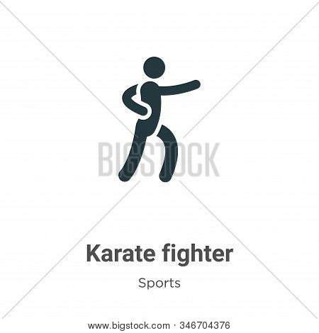 Karate Fighter Glyph Icon Vector On White Background. Flat Vector Karate Fighter Icon Symbol Sign Fr