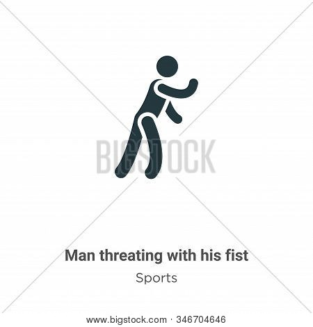 Man Threating With His Fist Glyph Icon Vector On White Background. Flat Vector Man Threating With Hi