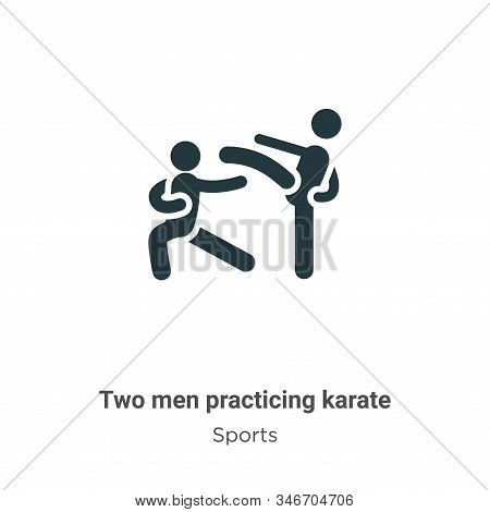 Two men practicing karate icon isolated on white background from sports collection. Two men practici