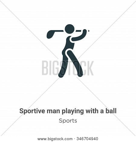 Sportive Man Playing With A Ball Glyph Icon Vector On White Background. Flat Vector Sportive Man Pla