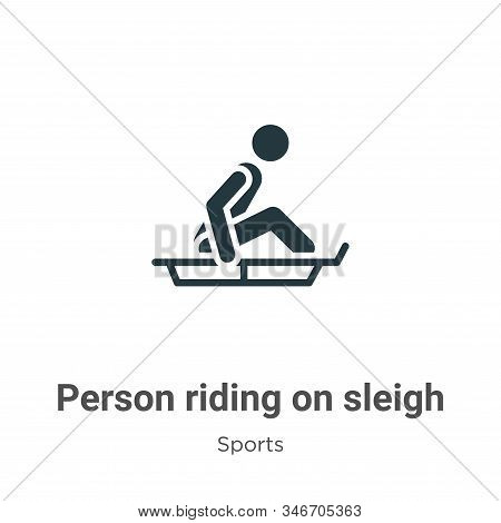 Person riding on sleigh icon isolated on white background from sports collection. Person riding on s