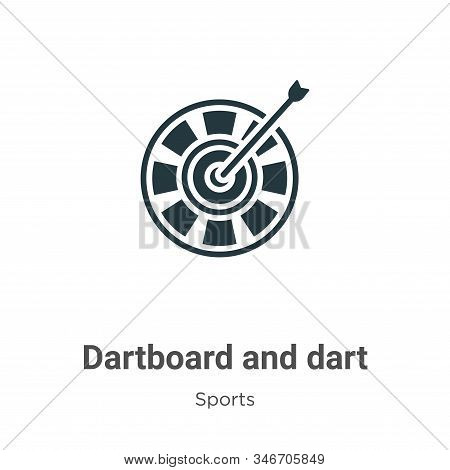 Dartboard And Dart Glyph Icon Vector On White Background. Flat Vector Dartboard And Dart Icon Symbol