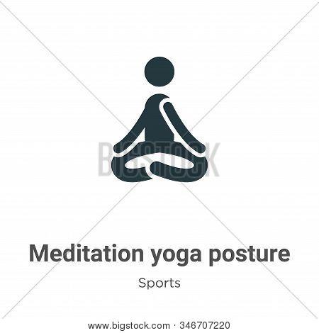 Meditation Yoga Posture Glyph Icon Vector On White Background. Flat Vector Meditation Yoga Posture I