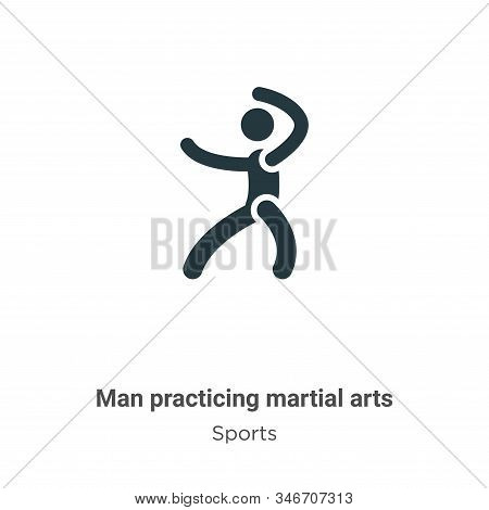 Man Practicing Martial Arts Glyph Icon Vector On White Background. Flat Vector Man Practicing Martia