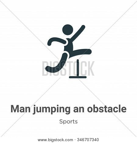 Man Jumping An Obstacle Glyph Icon Vector On White Background. Flat Vector Man Jumping An Obstacle I