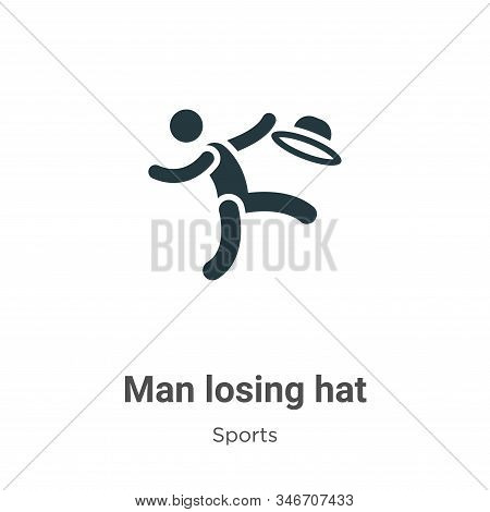 Man losing hat icon isolated on white background from sports collection. Man losing hat icon trendy