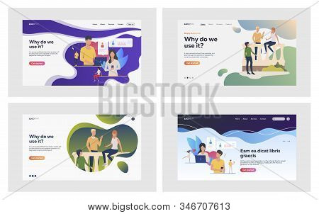 Offline And Online Communication Set. People Using Dating App, Chatting. Flat Vector Illustrations.