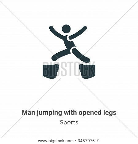 Man Jumping With Opened Legs Glyph Icon Vector On White Background. Flat Vector Man Jumping With Ope