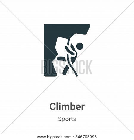 Climber Glyph Icon Vector On White Background. Flat Vector Climber Icon Symbol Sign From Modern Spor