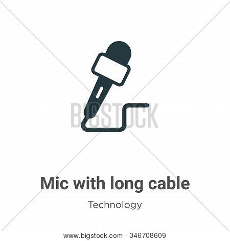 Mic with long cable icon isolated on white background from technology collection. Mic with long cabl