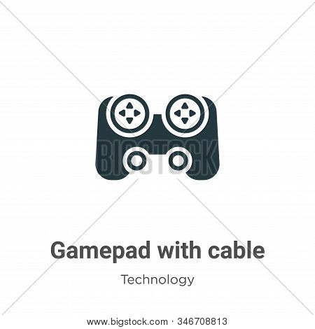 Gamepad with cable icon isolated on white background from technology collection. Gamepad with cable