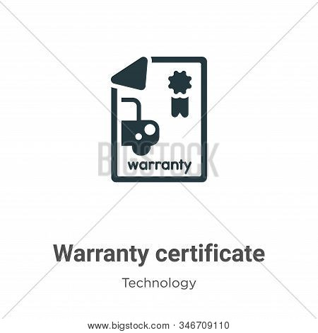 Warranty certificate icon isolated on white background from technology collection. Warranty certific