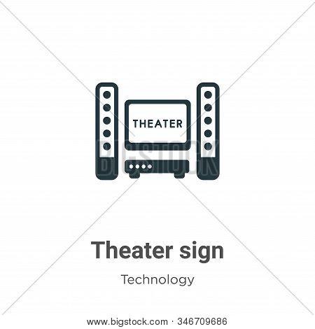 Theater sign icon isolated on white background from technology collection. Theater sign icon trendy