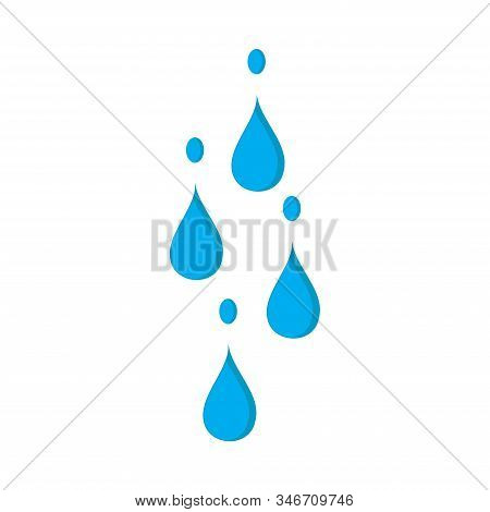 Abstract Of Blue Water Drop Icons On White Background. Water Drops Vector Illustration. Water Rain D