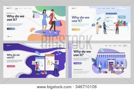 Set Of Customers Shopping Fashionable Clothes. Flat Vector Illustrations Of People Ordering Purchase