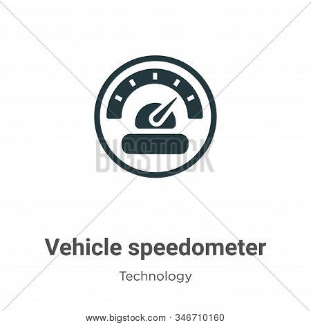 Vehicle speedometer icon isolated on white background from technology collection. Vehicle speedomete