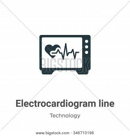 Electrocardiogram Line Glyph Icon Vector On White Background. Flat Vector Electrocardiogram Line Ico