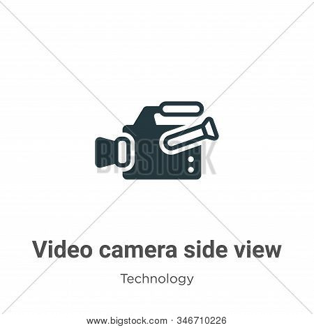 Video camera side view icon isolated on white background from technology collection. Video camera si
