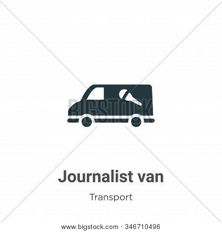 Journalist Van Glyph Icon Vector On White Background. Flat Vector Journalist Van Icon Symbol Sign Fr