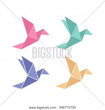 Origami Bird. Origami Birds Vector Pack. Origami Birds Vector Set.
