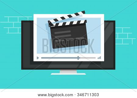 Tv Video Player With Film Slate Clapper Board Or Television Cinema Multimedia Vector Flat Cartoon, I
