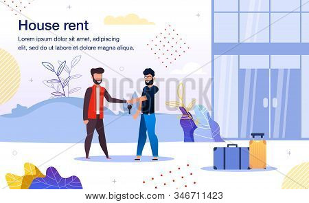 Rental Residential Real Estate Trendy Flat Vector Advertising Banner, Promo Poster Template. Realtor