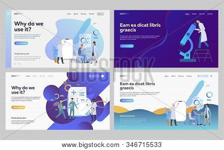 Set Of Doctors Examining Patient Health. Flat Vector Illustrations Of People Making Biochemical Anal