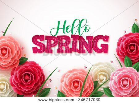 Hello Spring Vector Concept Background. Spring Greetings Text With Colorful Flower Like Rose, Camell