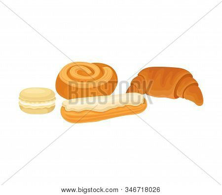 Sweet And Sugary Pastry Isolated On White Background Vector Illustration. Food For Good Brain Functi