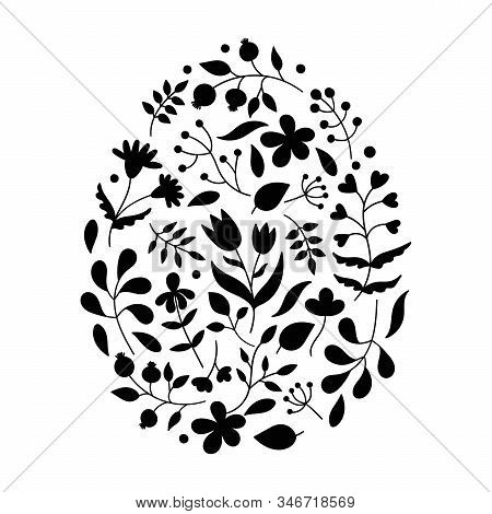 Floral Patterns In The Shape Of An Easter Egg.plant Elements, Leaves, Twigs, Flowers.black Silhouett