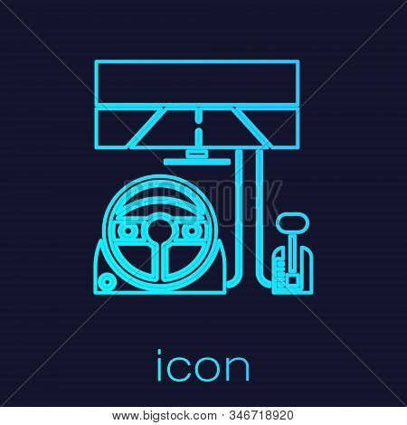 Turquoise Line Racing Simulator Cockpit Icon Isolated On Blue Background. Gaming Accessory. Gadget F