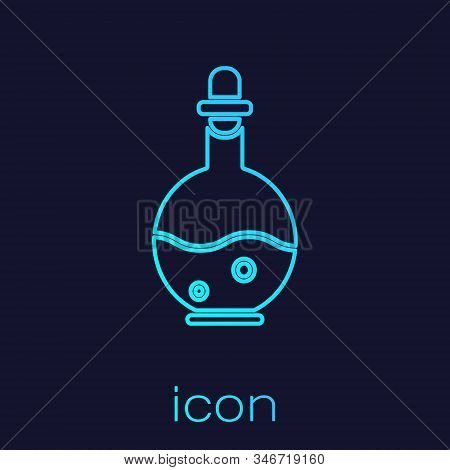 Turquoise Line Glass Bottle With Magic Elixir Icon Isolated On Blue Background. Computer Game Asset.