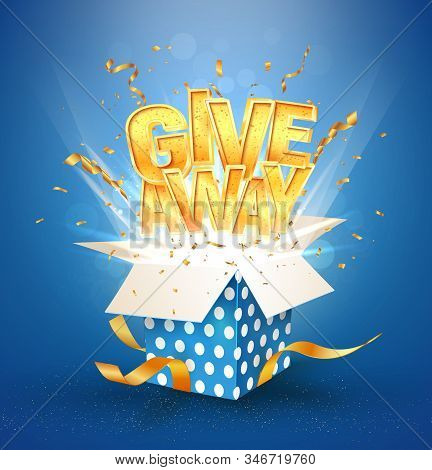 Open Textured Blue Box With Confetti Explosion Inside And Giveaway Gold Word. Winning Celebration. I