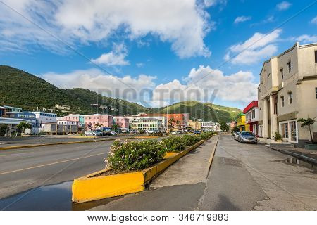 Road Town, Tortola, Bvi - December 16, 2018: Street View Of Road Town At Day With Parked Cars Near T