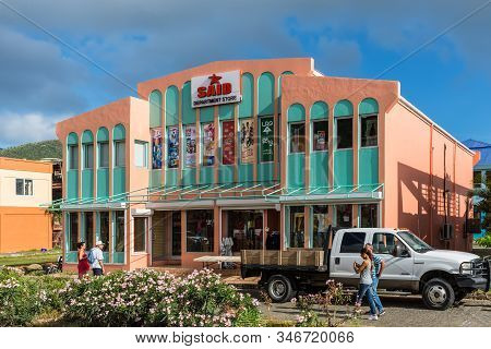 Road Town, Tortola - December 16, 2018: Street View Of Road Town At Day With Parked Car Near Departm