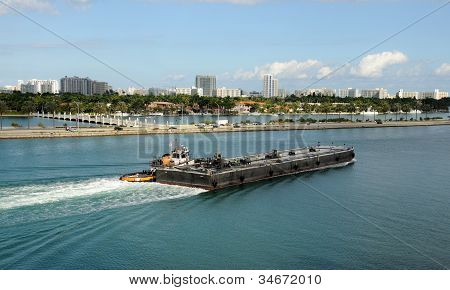 Barge On The Miami Waterways